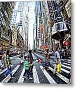 Crossing The City Street Metal Print