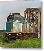 Via Train Crossing The Miramichi River Metal Print by Steve Boyko