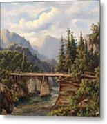 Crossing The River Bridge Metal Print