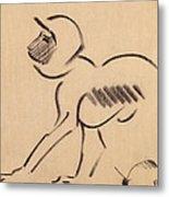 Crouching Monkey Metal Print
