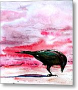 Crow At Dawn Metal Print