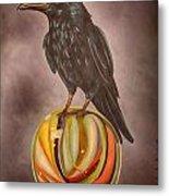 Crow On Marble Edit 3 Metal Print