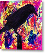 Crow On Red Metal Print
