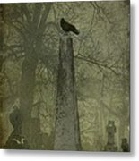 Crow On Spire Metal Print