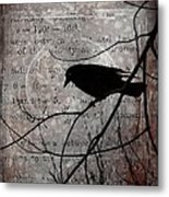 Crow Thoughts Collage Metal Print