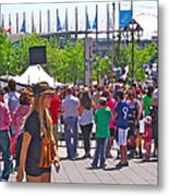 Crowd Watching Filming Of Today Show In Old Montreal-qc Metal Print