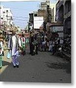 Crowded Street And Devotees In Front Of Golden Temple In Amritsar Metal Print
