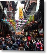 Crowds Throng Shanghai Chenghuang Miao Temple Over Lunar New Year China Metal Print