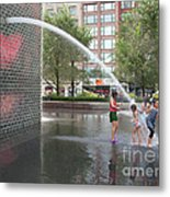Crown Fountain Play Metal Print