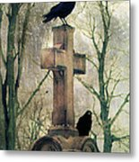 Urban Graveyard Crows Metal Print