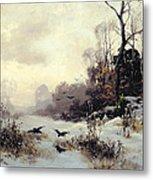 Crows In A Winter Landscape Metal Print