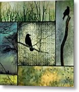 Crows In Nature Collage Metal Print