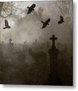 Crows On A Eerie Night Metal Print