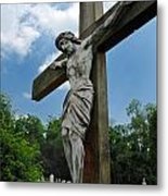 Crucifix Statue St James Cemetery Sewickley Heights Pennsylvania Metal Print