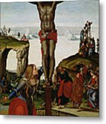 Crucifixion With Mary Magdalene Metal Print