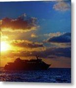 Cruise Liner At Sunset Metal Print