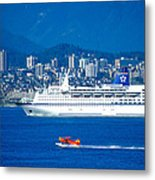 Cruise Ship And Seaplane In Vancouver Harbor Metal Print