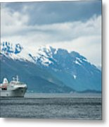 Cruise Ship In The Sognefjord In Norway Metal Print