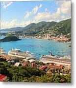 Cruise Ships In St. Thomas Usvi Metal Print