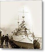 Cruiser Uss New York Going Into Dry Dock San Francisco Circa 1903 Metal Print
