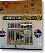 Cruisin' The Mother Road W Water Droplets Metal Print
