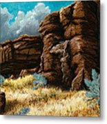 Crumbling Cliffs At Harney Or Metal Print