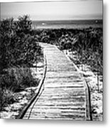 Crystal Cove Wooden Walkway In Black And White Metal Print