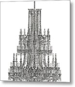 Crystal Palace Chandelier In Black And White Metal Print