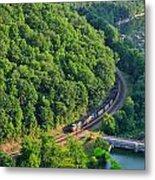 Csx Train At Hawks Nest Dam Metal Print