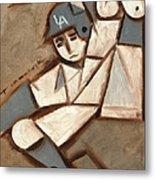 Cubism La Dodgers Baserunner Painting Metal Print by Tommervik