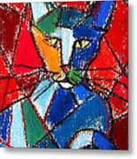 Cubist Colorful Cat Metal Print