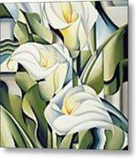 Cubist Lilies Metal Print