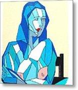 Cubistic Blue Lady Metal Print