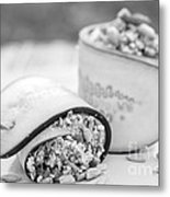 Cucumber Rolls Black And White Metal Print