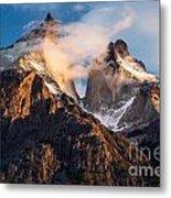Cuernos Del Paine At Sunrise Metal Print
