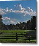Cumulus Over Green Pastures Metal Print