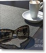 Cup Of Coffee And Sunglasses Metal Print