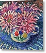 Cup Of Flowers Metal Print