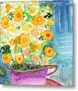 Cup Of Yellow Flowers- Abstract Floral Painting Metal Print