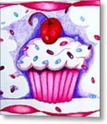 Cupcake And Ribbons Metal Print