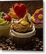 Cupcakes And Coffee Beans Metal Print