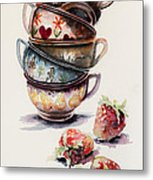Cups And Strawberries Metal Print