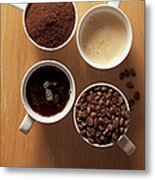 Cups Of Coffee And Coffee Beans Metal Print