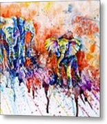 Curious Baby Elephant Metal Print