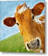 Curious Cow Metal Print by Jo Collins