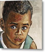 Curious Little Boy Metal Print