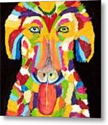 Curly Colorful Retriever Metal Print