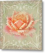 Curlyicue Peach Rose With Flourshis   Square Metal Print