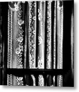 Curtain In Black And White Metal Print