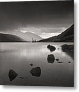 Curve Of Rocks In Monochrome At Loch Etive Metal Print